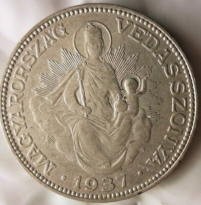 1937 HUNGARY 2 PENGO - AU/UNC - Very Uncommon Silver Crown Coin - Lot #M11