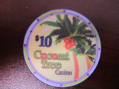 $10 COCONUT TREE CASINO Jamica Gaming Poker Chip Purple Palm Tree Design