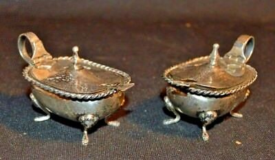 Two Italian 800 SILVER, Footed, Covered Salt Cellars with Salt Spoons