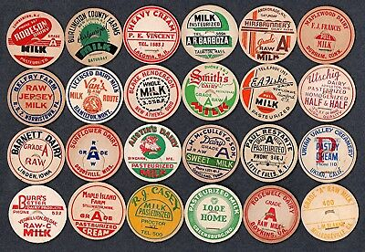 24 Vintage Milk Dairy Bottle Caps From 24 Different States
