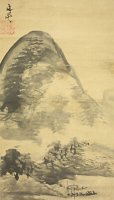 "JAPANESE HANGING SCROLL : TANI BUNCHO ""River Landscape""  @p224"