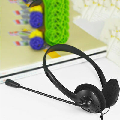 3.5mm Wired Stereo Headset w/ Mic Microphone Headphone For PC Laptop Computer UK