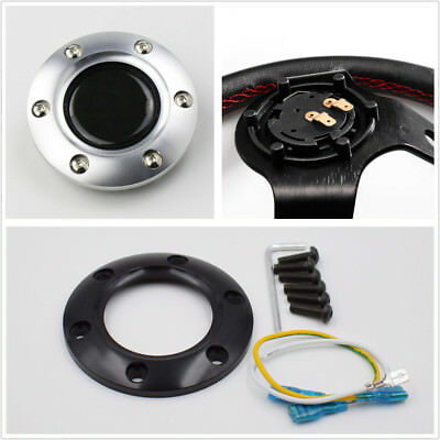 Plastic+Real Carbon Fiber Racing Car Steering Wheel Horn Button Cover Universal