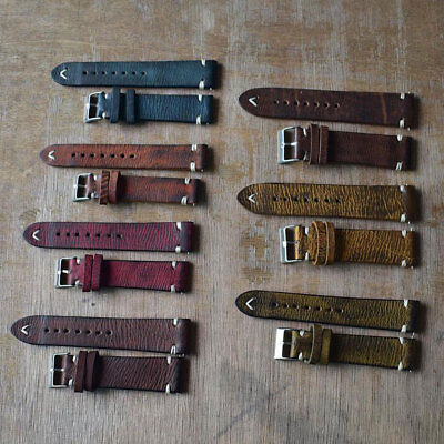 Vintage Women Men Replacement Genuine Leather Watch Band Stitching Bracelet Uk