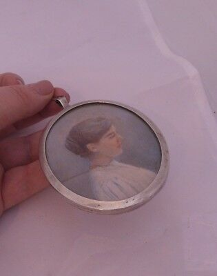 Fine Edwardian portrait miniature signed W.A, in solid silver frame, 1903, 925