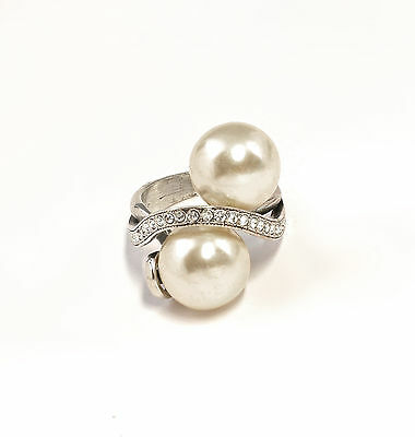 925 silver Ring with Swarovski Stones & beads Big 54 a8-01368