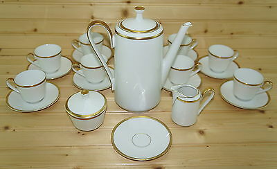Heinrich White w/ Gold-24 pc Demitasse Coffee Pot-Creamer-Sugar Bowl-Cup Saucers