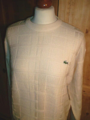 LACOSTE Strickpullover Wolle wool pullover vintage knitwear beige creme Gr.4 M