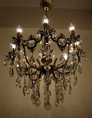 Vintage 8 arms Brass & Crystals Chandelier from 1970's