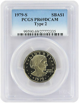 1979-S Type 2 Susan B Anthony Dollar SBA PR69DCAM PCGS Proof 69 DC Clear 'S'