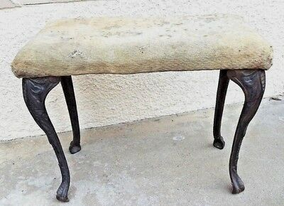"""ANTIQUE CAST IRON BENCH w/CLAWED FEET - BENCH IS 12"""" DEEP x 22"""" WIDE x 18"""" TALL"""