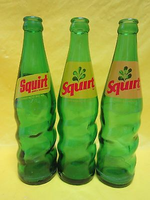 3 SQUIRT MEXICO FOREIGN SWIRL BOTTLE 12 OUNCE 160ml 1970-80's RETURNABLE GLASS