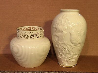 2 Vintage Lenox Pieces, Mothers Day Vase With Birds & Ginger Jar with Open Lace