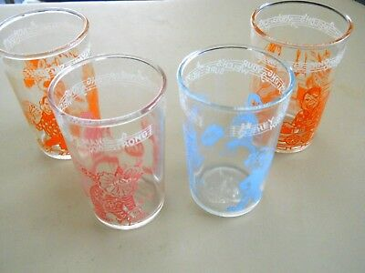 Vintage 4 Welch's Howdy Doody Jelly Glasses 1953