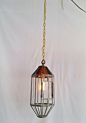 Antique Leaded Clear & Stained Glass Chandelier Hanging Electrified Candle Light