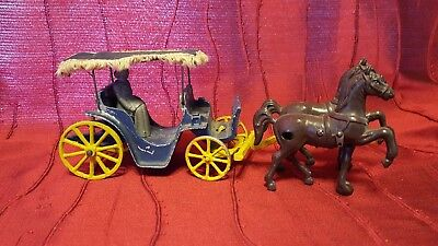 Vintage Cast Iron Horse Drawn Buggy Carriage With Fringe Canapy with Passenger