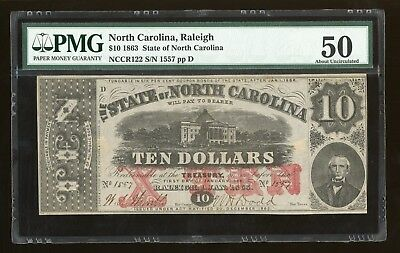 1863 $10 Raleigh State of North Carolina PMG 50 Obsolete Note