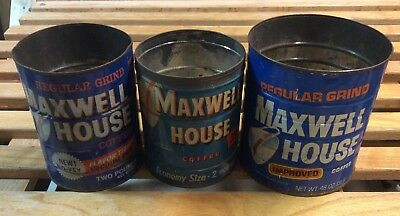 3 Old Maxwell House Coffee Tin Cans Counrty Kitchen Decor Advertising