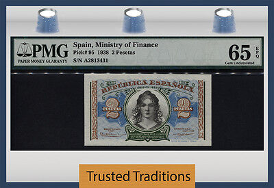 Tt Pk 95 1938 Spain 2 Pesetas Ministry Of Finance Pmg 65 Epq Gem Uncirculated