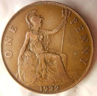 1922 GREAT BRITAIN PENNY - Excellent Collectible - FREE SHIP - Britain Bin H