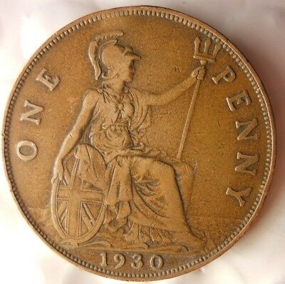 1930 GREAT BRITAIN PENNY - Excellent Collectible - FREE SHIP - Britain Bin H