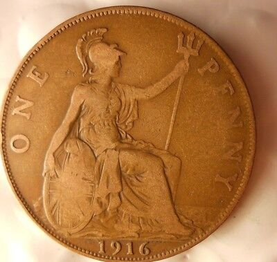 1916 GREAT BRITAIN PENNY - Excellent Collectible - FREE SHIP - Britain Bin H