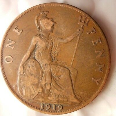 1919 GREAT BRITAIN PENNY - Excellent Collectible - FREE SHIP - Britain Bin H