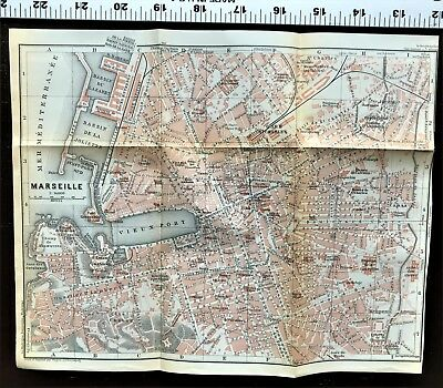 1911 MARSEILLE France - Original Antique City Map Plan w/ Streets BAEDEKER Rare