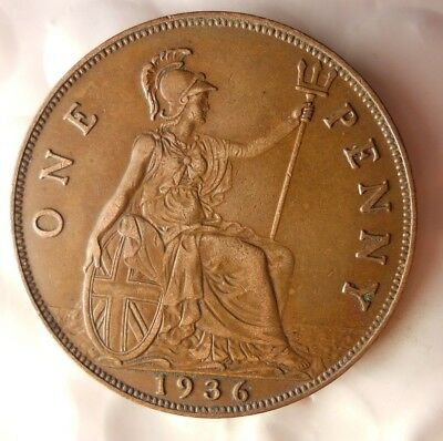 1936 GREAT BRITAIN PENNY - Excellent Collectible - FREE SHIP - Britain Bin H