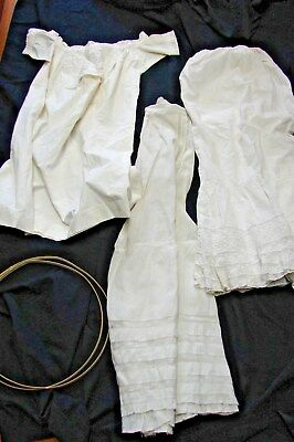 ANTIQUE LOT OF WHITE VICTORIAN CLOTHING flounced petticoats for mending or pattn
