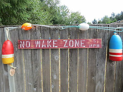 48 Inch Wood Hand Painted No Wake Zone 5Mph Sign Nautical Seafood (#s819)