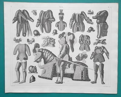 MILITARY Medieval Armor Knights Horses Helmets Plumes - 1844 Superb Print