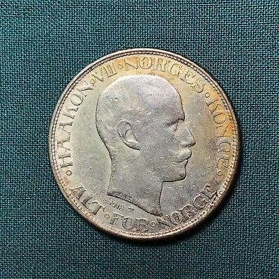 1918 Norway King Haaakon VII 50 Ore Foreign Silver Coin
