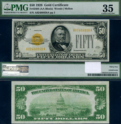 FR. 2404 $50 1928 Gold Certificate A-A Block Choice PMG VF35 Bright Bold Colors