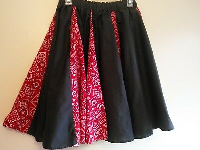 Square dance skirt-Black, red and white-Size small-preowned