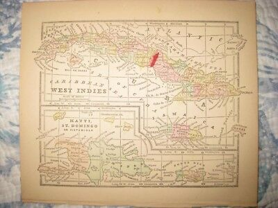 Antique 1858 West Indies Haiti Dominican Republic Cuba Caribbean Handcolored Map