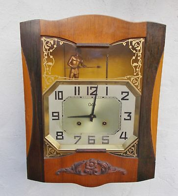 lovely 1950s french wall clock odo automaton man striking bell 8 day complete
