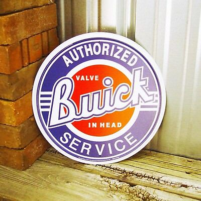 "Buick Authorized Service Value in Head Round 12"" Metal Tin Sign Vintage Garage"