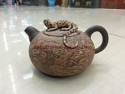 collectable China yixing Purple Old zisha Figure teapot exquisite upscale gecko