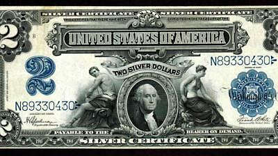 $2 1899 Silver Certificate ** Mini Porthole **  MORE CURRENCY FOR SALE