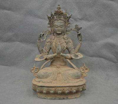 China Old Tibetan Buddhism Four arms Guanyin Buddha Old Bronze Statue
