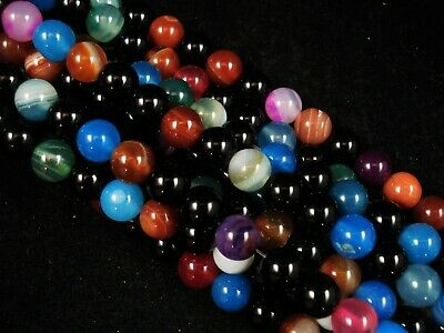 Gemstone Beads Mix Stripe Agate 8mm Round Beads 35cm Strand FREE POSTAGE