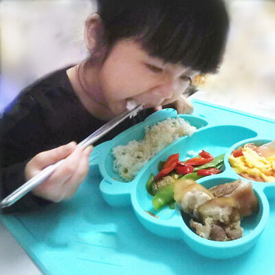 Smile Frog One-Piece Silicone Placemat Plate Dish Food Table Mat For Toddler Kid