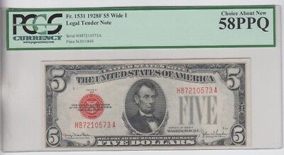Legal Tender $5 Red Seal 1928-F PCGS Graded Choice about new 58PPQ