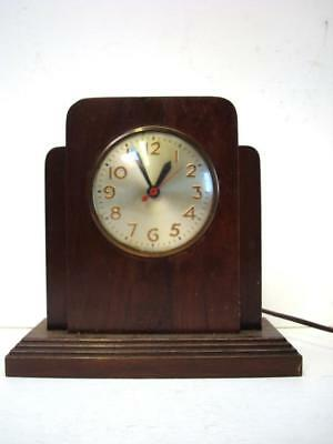 1936 Vintage Sessions Art Deco Table Mantle Electric Clock Model W - Works!