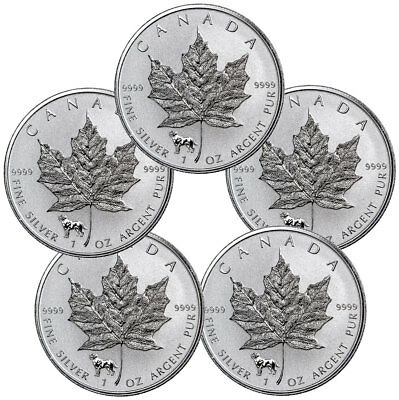 Lot of 5 - 2018 Canada 1 oz Silver Maple Leaf - Dog Privy Rev Proof $5 SKU52950
