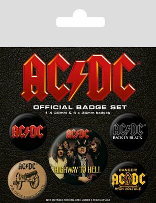 Button Badge 5er Pack AC/DC - Highway To Hell 1x 38mm & 4x 25mm BP80494
