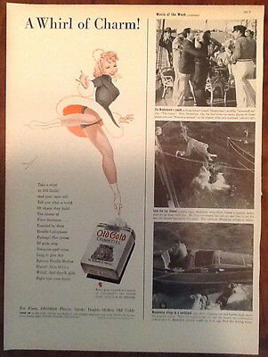 Old Gold cigarettes vintage original ad 1939 1930s ice skater art George Petty