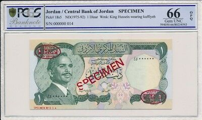 Central Bank of Jordan Jordan  1 Dinar ND(1975-92) specimen PCGS  66OPQ