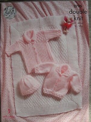 King Cole 2795  Babies Jackets,Blanket & Hat DK Knitting Pattern Sizes 12-18""